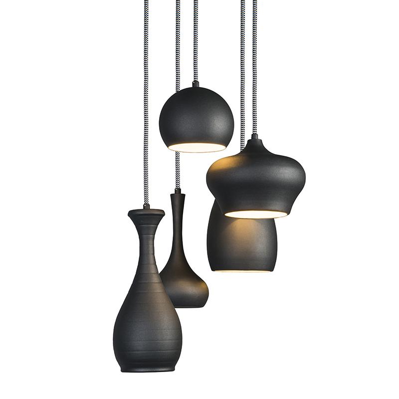 Hanglamp Drops 5 Zwart Lampenlicht