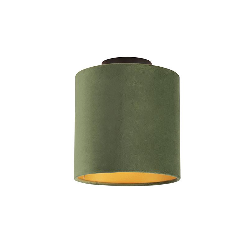 Plafondlamp met velours kap groen met goud 20 cm Combi zwart