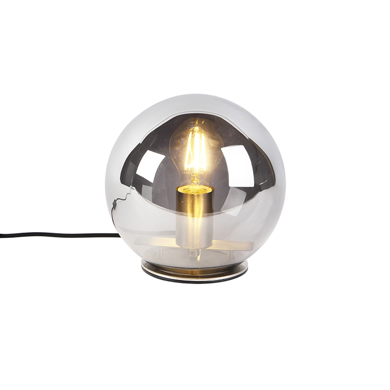Art Deco tafellamp staal met smoke glas 20 cm Pallot