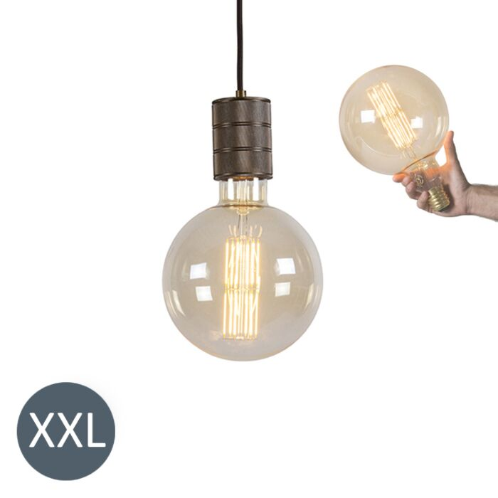 Hanglamp-brons-Megaglobe-met-dimbare-LED-lamp