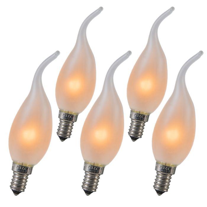 Kaarslamp-Tip-E14-10W-mat-set-van-5