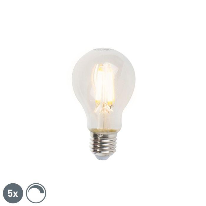 Set-van-5-E27-dimbare-LED-filament-lampen-A60-7W-806lm-2700K
