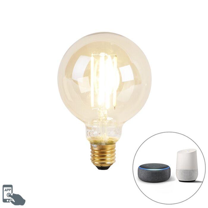 Smart-E27-dim-to-warm-LED-lamp-G95-goldline-7W-806-lm-1800K---3000K