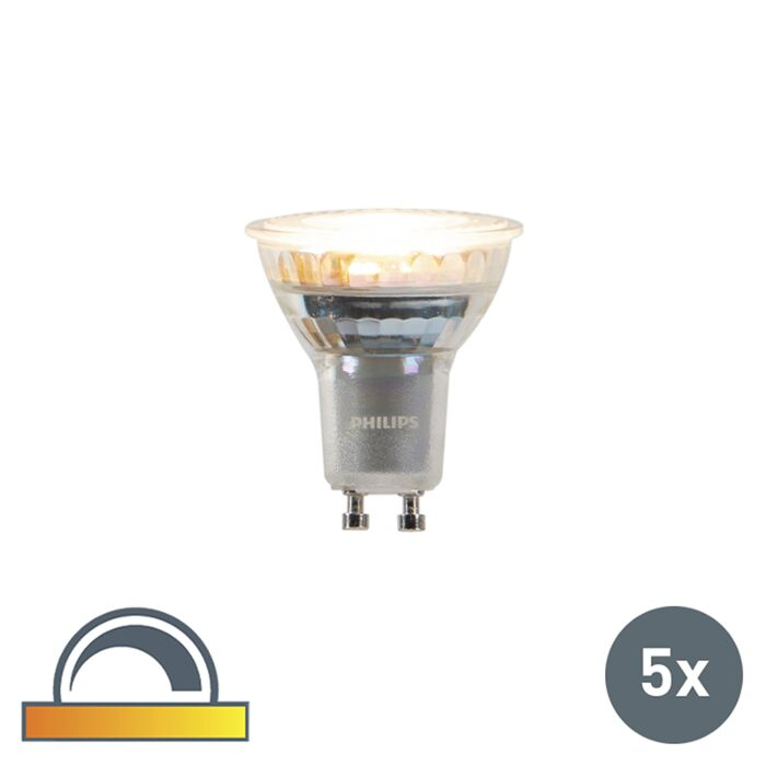 Set-van-5-GU10-dim-to-warm-Philips-LED-lampen-3,7W-260-lm
