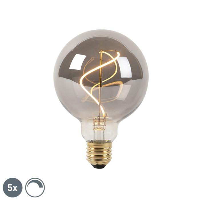 Set-van-5-E27-dimbare-LED-filament-lampen-smoke-G95-2100K