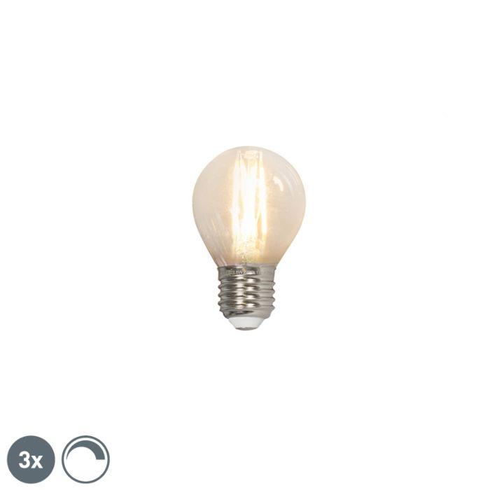 Set-van-3-LED-filament-kogellamp-E27-240V-3,5W-350lm-P45-dimbaar