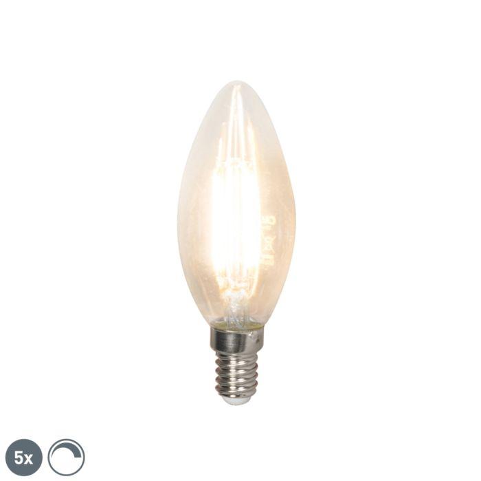 Set-van-5-E14-dimbare-LED-filament-kaarslampen-350-lm-2700K
