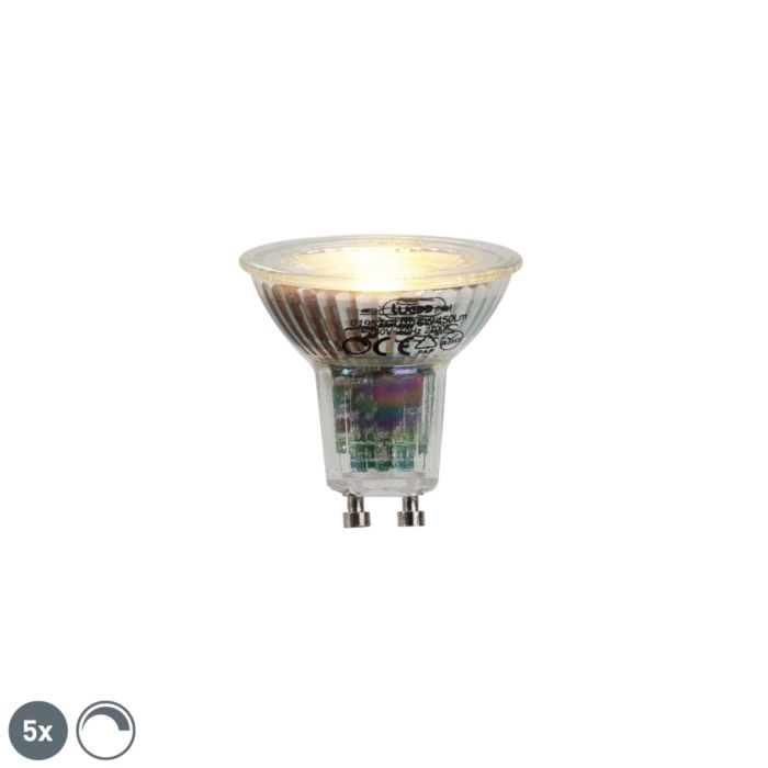 Set-van-5-GU10-LED-lamp-6W-450lumen-2700K-dimbaar