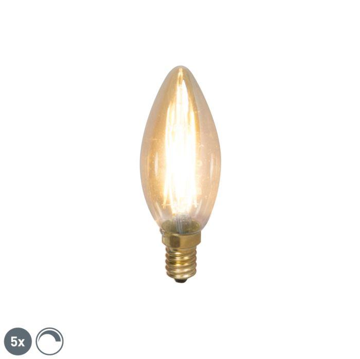 Set-van-5-E14-dimbare-LED-filament-kaarslampen-200lm-2100-K