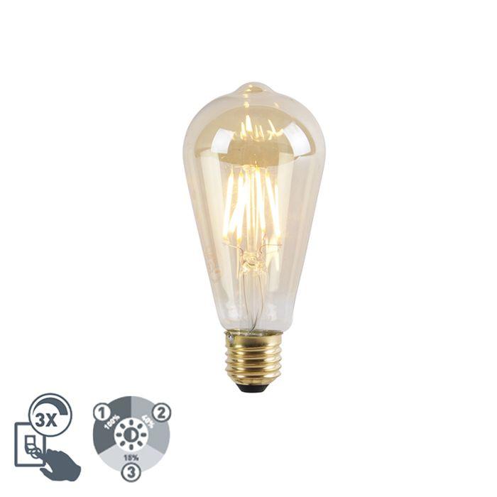 E27-dimbare-LED-lamp-ST64-goldline-3-staps-dimbaar-5W-360lm-2200K