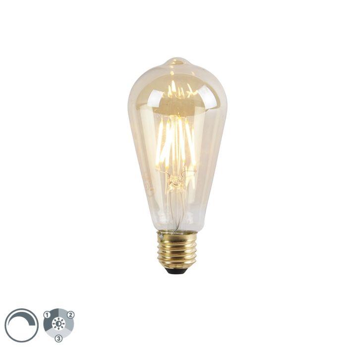 E27-3-staps-dimbare-LED-lamp-ST64-goldline-5W-550-lm-2200K