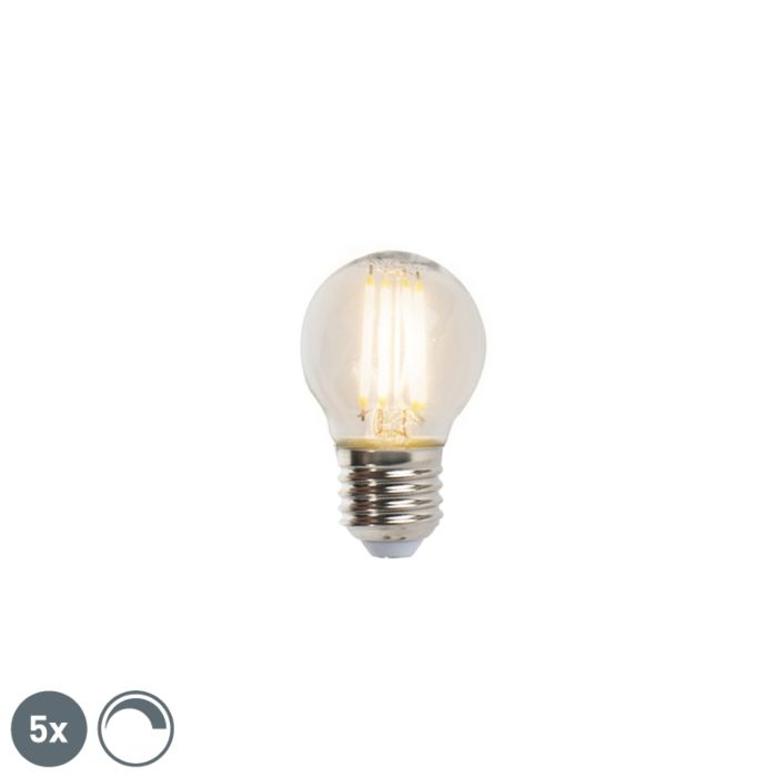 Set-van-5-E27-dimbare-LED-filament-kogellampen-5W-470lm-2700K