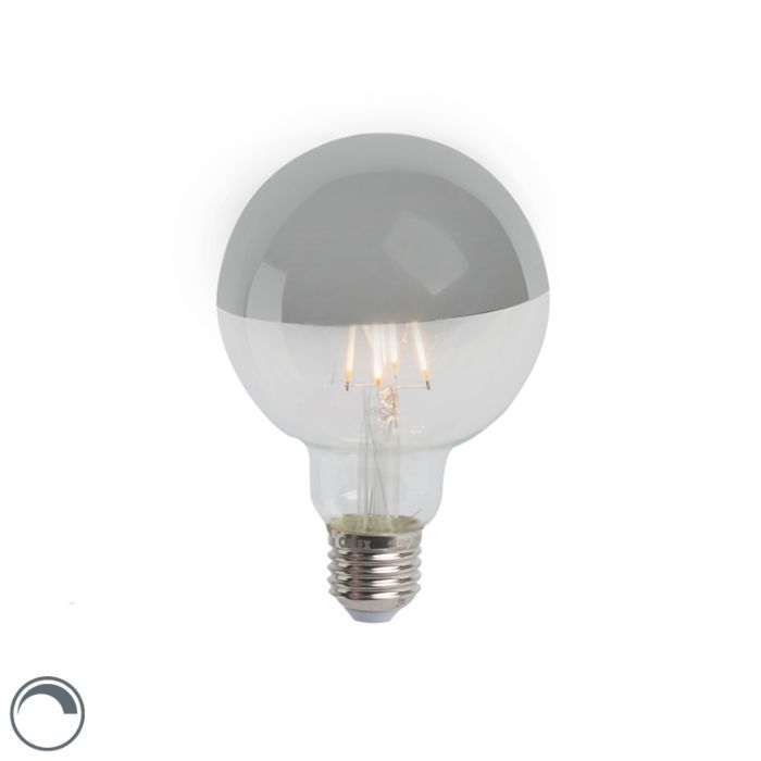 LED-filamentlamp-kopspiegel-zilver-E27-240V-4W-280lm-2300K-G95-dimbaar