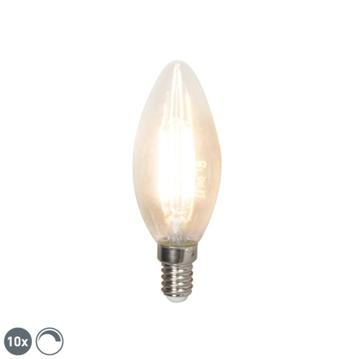 Set-van-10-LED-filament-kaarslamp-E14-240V-3,5W-350lm-B35-dimbaar