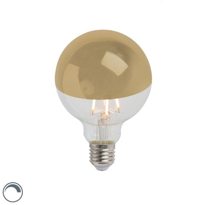 LED-filamentlamp-kopspiegel-goud-E27-240V-4W-280lm-2300K-G95-dimbaar