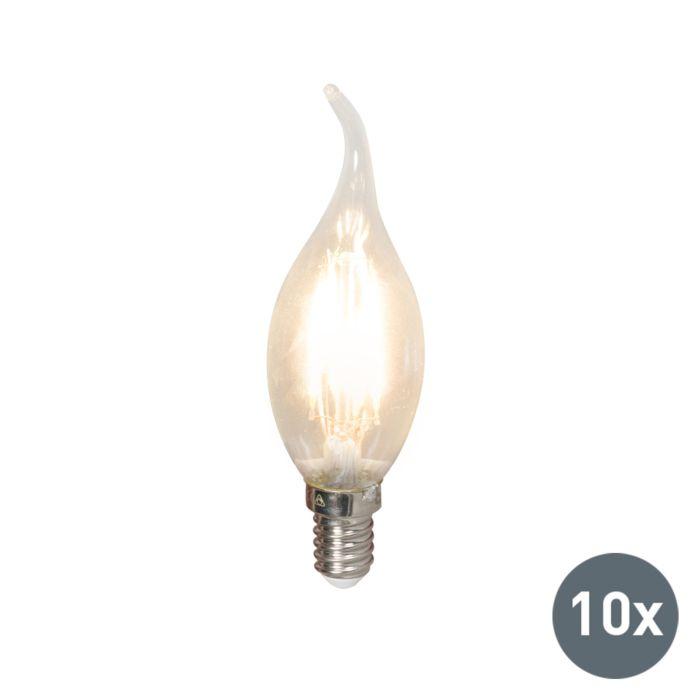 Set-van-10-LED-filament-tipkaarslamp-E14-240V-3,5W-350lm-BXS35-dimbaar