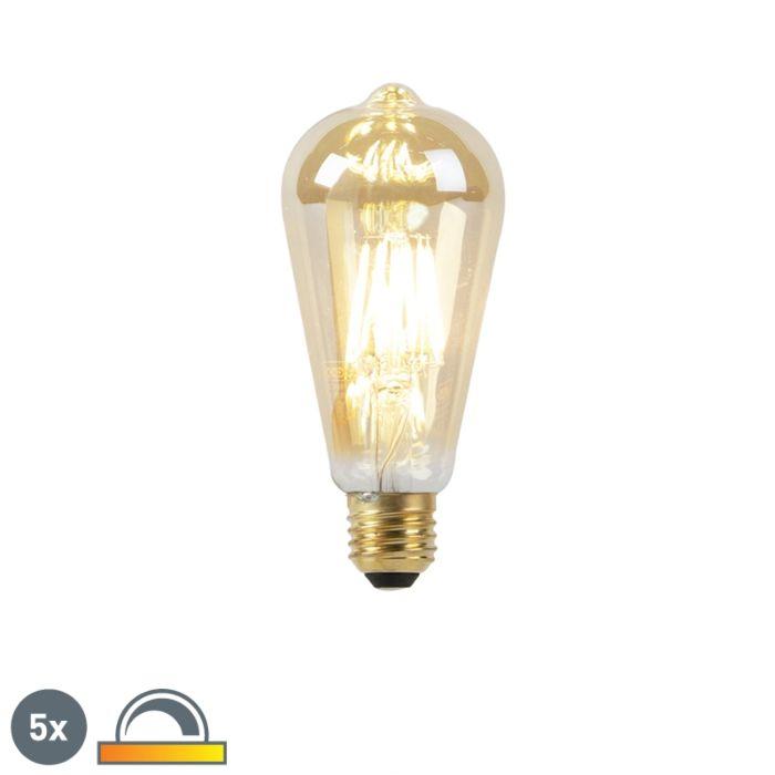 Set-van-5-E27-LED-lampen-8W-2000-2600K-dim-to-warm-goldline-filament