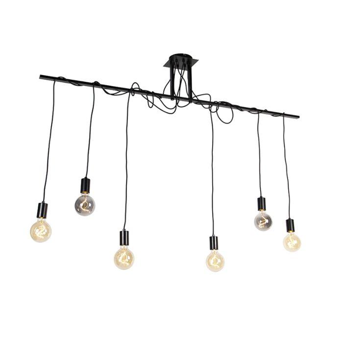 Hanglamp-zwart-6-lichts-met-80-cm-kabels---Facile