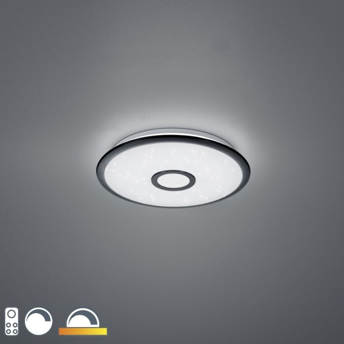 Plafondlamp-zwart-42-cm-Incl.-LED-met-afstandsbediening---Bente