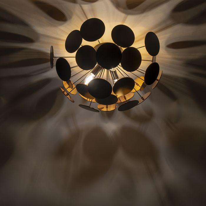 Design-plafondlamp-zwart-met-goud-54-cm-3-lichts---Cerchio