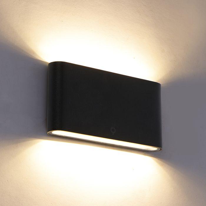 Moderne-buitenwandlamp-zwart-17,5-cm-incl.-LED-IP65---Batt