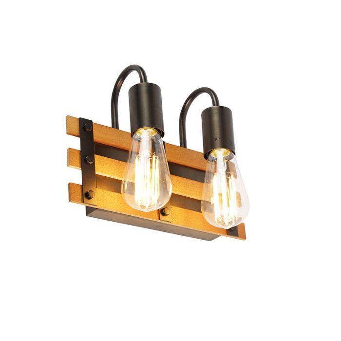 Industriële-wandlamp-zwart-met-hout-2-lichts---Paleta-Mai