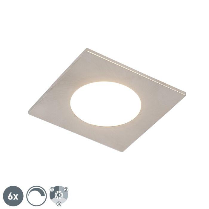 Set-van-6-inbouwspots-staal-incl.-LED-3-staps-dimbaar-IP65---Simply