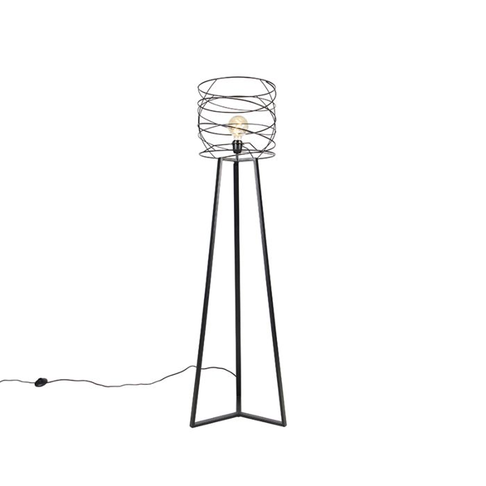 Design-vloerlamp-zwart---Spira