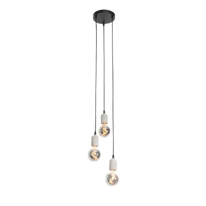 Industriële-hanglamp-zwart-met-beton-rond-3-lichts---Pedra