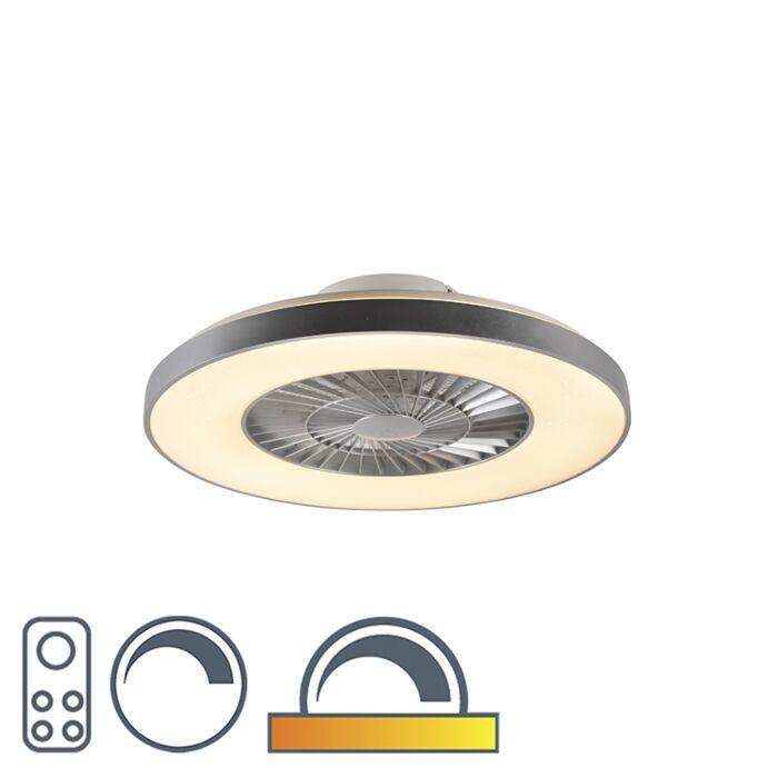 Plafondventilator-zilver-met-ster-effect-dimbaar---Climo