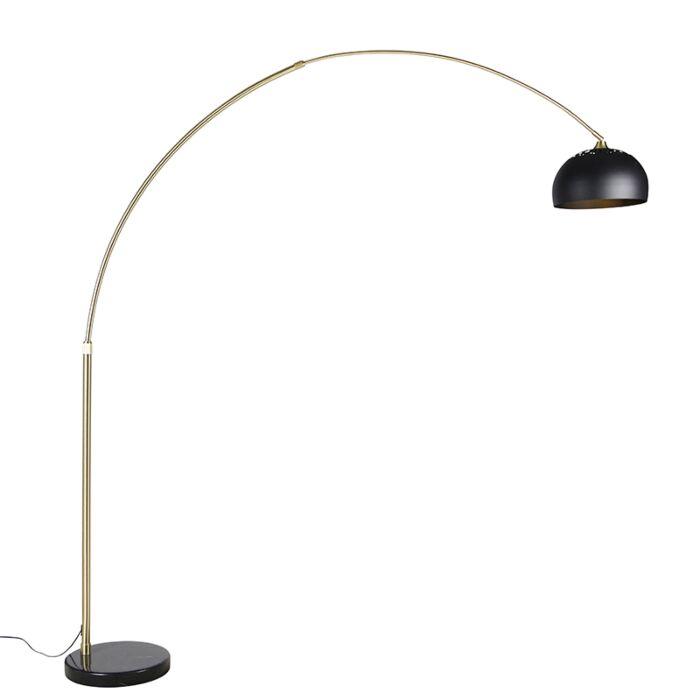 Moderne-booglamp-messing-met-marmeren-voet-en-zwarte-kap-32,5-cm---XXL