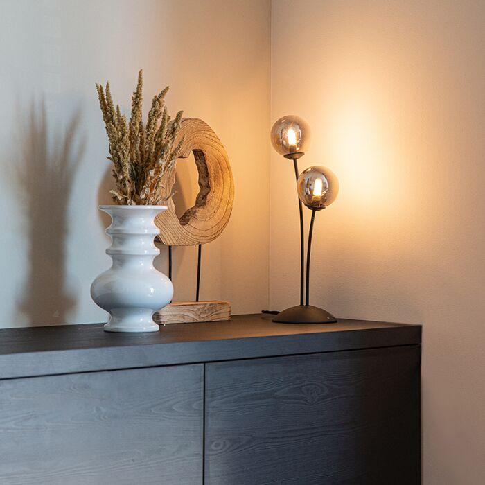 Moderne-tafellamp-zwart-2-lichts-met-smoke-glas---Athens