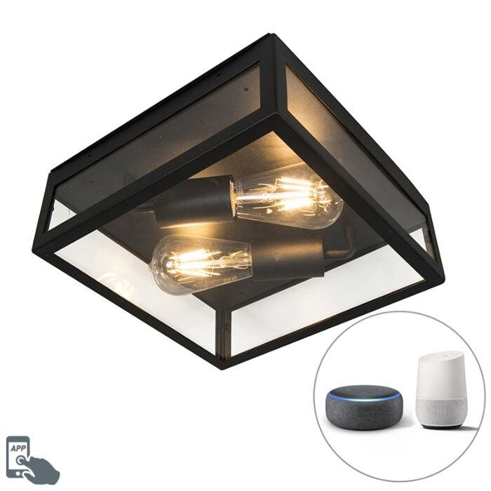 Industriële-smart-buitenplafondlamp-zwart-incl.-2-WiFi-ST64---Rotterdam