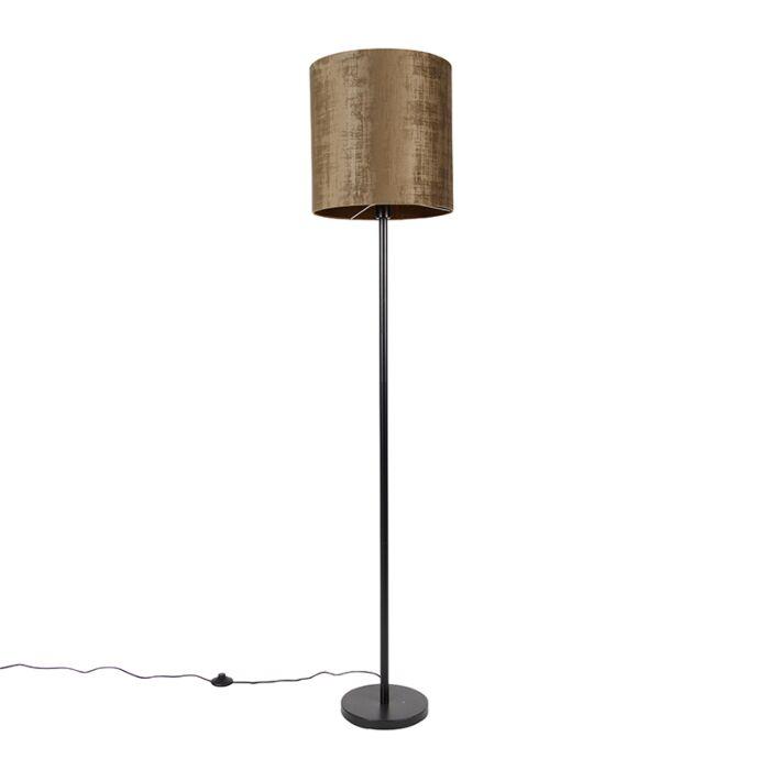 Klassieke-vloerlamp-zwart-kap-bruin-40-cm---Simplo