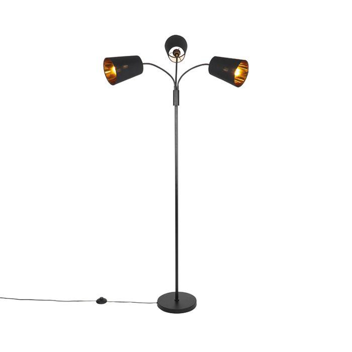 Moderne-vloerlamp-zwart-3-lichts---Carmen