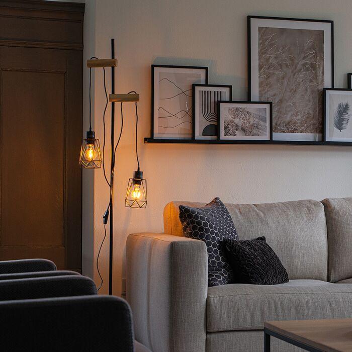 Landelijke-vloerlamp-zwart-met-hout-2-lichts-met-kap---Dami-Frame