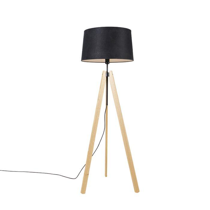 Moderne-vloerlamp-hout-linnen-kap-zwart-45-cm-tripod---Telu