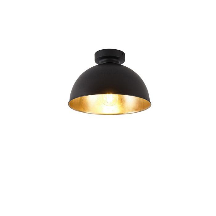 Industriële-plafondlamp-zwart-met-goud-28-cm---Magnax