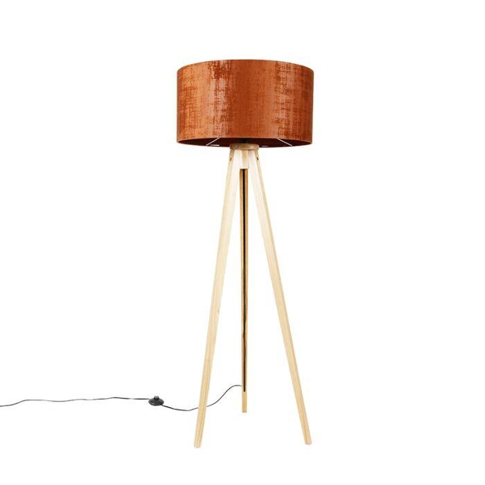 Vloerlamp-hout-met-stoffen-kap-oranje-50-cm---Tripod-Classic
