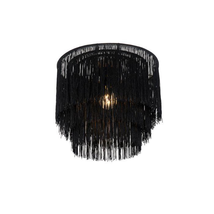 Oosterse-plafondlamp-goud-zwarte-kap-met-franjes---Franxa