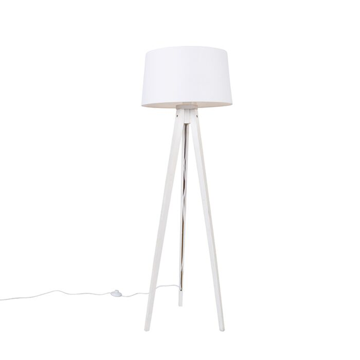 Moderne-vloerlamp-tripod-wit-met-linnen-kap-wit-45-cm---Tripod-Classic