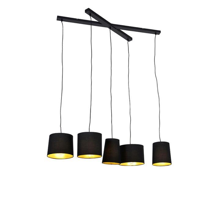 Landelijke-hanglamp-zwart-5-lichts---Hermina