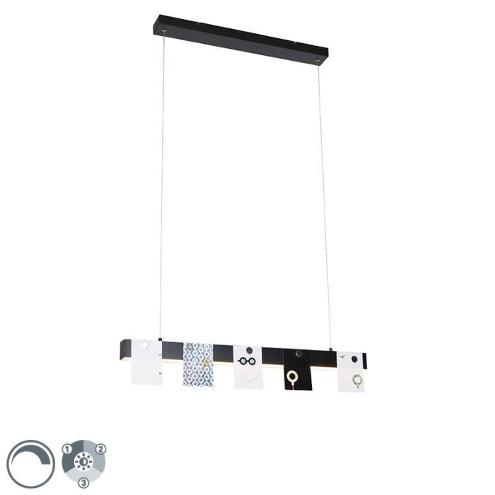 Moderne-hanglamp-zwart-incl.-LED-3-staps-dimbaar---U-Tube