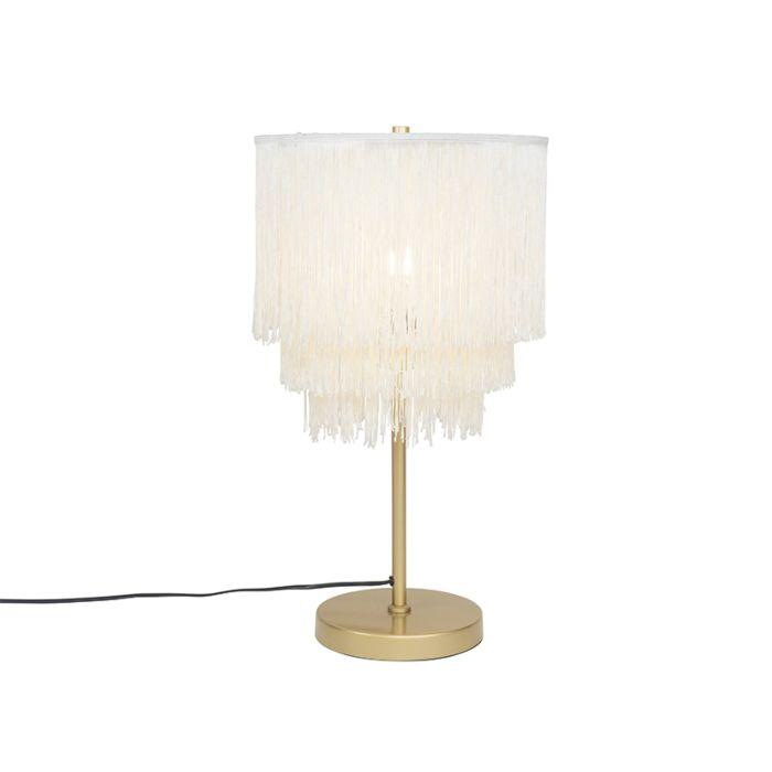 Oosterse-tafellamp-goud-crème-kap-met-franjes---Franxa