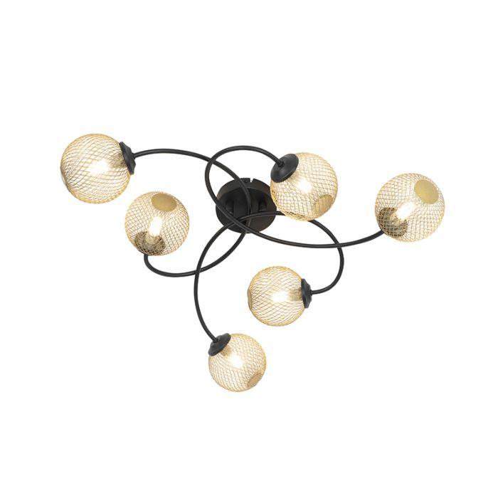 Moderne-plafondlamp-zwart-met-goud-6-lichts---Athens-Wire
