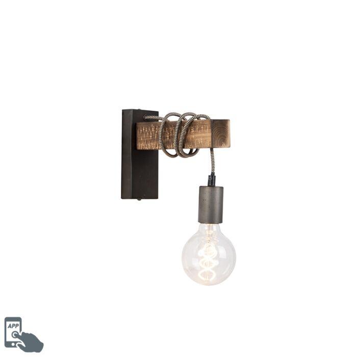 Smart-industriële-wandlamp-zwart-met-hout-incl.-wifi-G95---Gallow