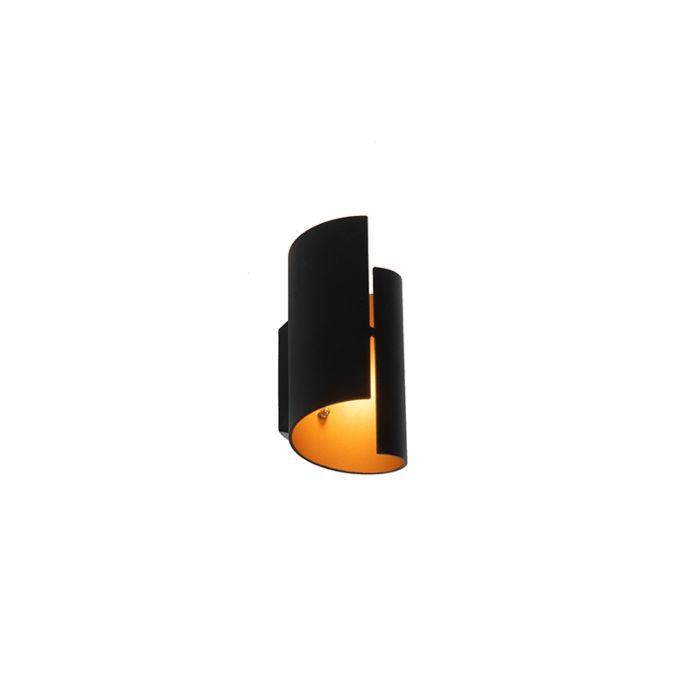 Moderne-wandlamp-zwart-met-gouden-binnenkant---Faldo