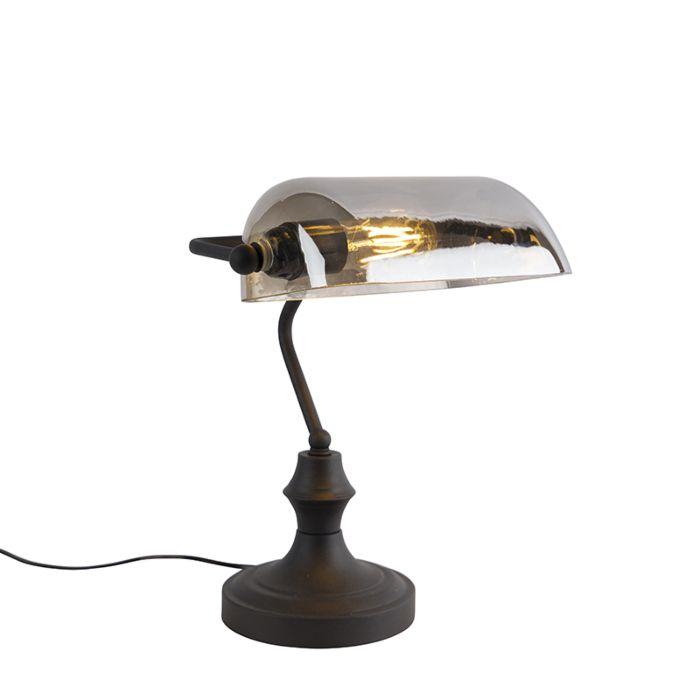 Klassieke-notarislamp-zwart-met-gerookt-spiegelglas---Banker