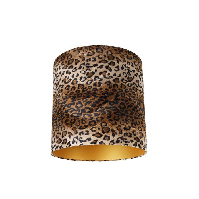 Velours-lampenkap-luipaard-dessin-40/40/40-gouden-binnenkant