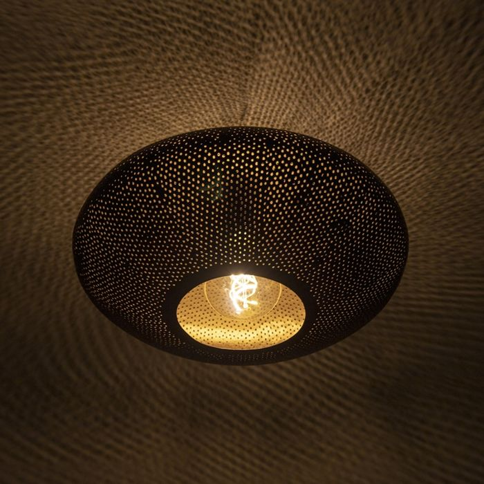 Oosterse-plafondlamp-zwart-met-goud-40-cm---Radiance